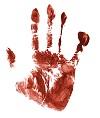 et blodigt håndaftryk