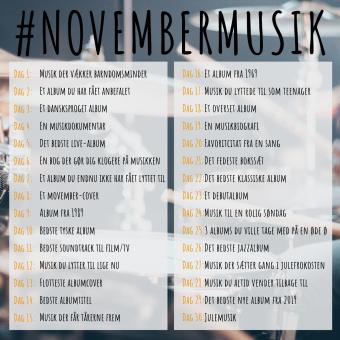 #novembermusik temaerne dag for dag i november