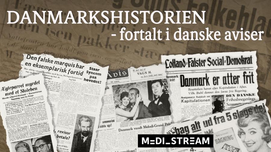 billede med udklip fra gamle danske aviser