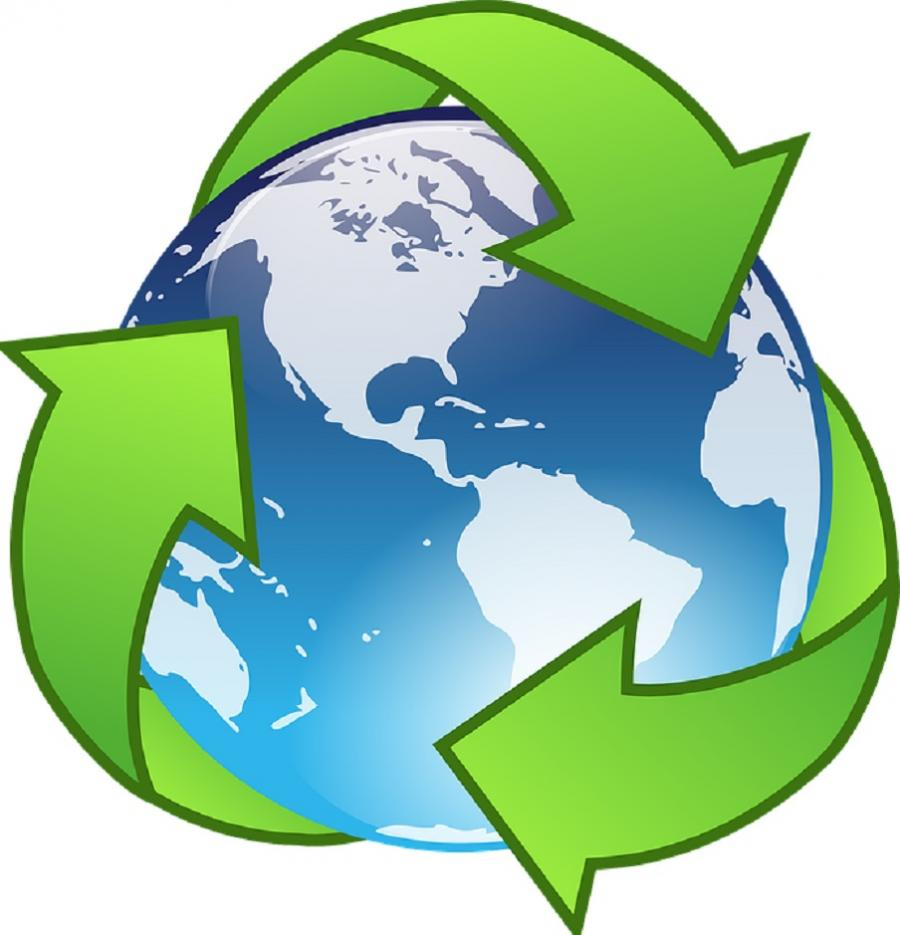 recycle icon med tre grønne pile om globus