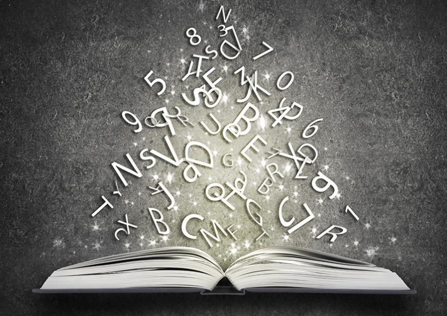 billedet viser bogstaver der flyver